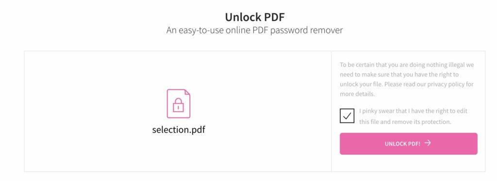 smallpdf unlock pdf note